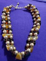 nice vintage gold tone beads with cute stone Necklace Collar 16 _ 18