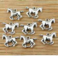 16pcs tibetan silver color 3D running horse charms pendants EF1496