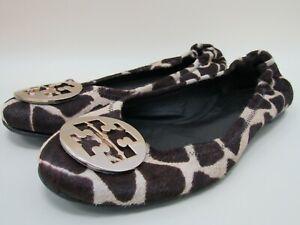 Tory Burch Reva Women's Calf Hair Animal Print Flats Size 11 Made in Brazil