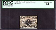 US 5c Fractional Currency Note Red Back 3rd Issue FR 1236 PCGS 64 V Ch CU