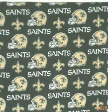"Bandanna for New Orleans Saints on Black 100% Cotton #121 Handmade 22"" X 22"""