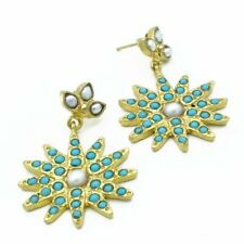 Aylas Turquoise Pearl earrings - 21ct Gold plated semi precious gemstone - Handm