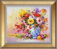 Framed Oil Painting, Signed Original Impressionist Bouquet Floral with Blue Vase