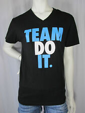 Black V-Neck Work Out Team Do It Fitness Athletic Cotton Tee T-Shirt sz S #97