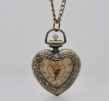 Bronze Heart Pocket Watch Necklace Steampunk Vintage Antiqued Pendant