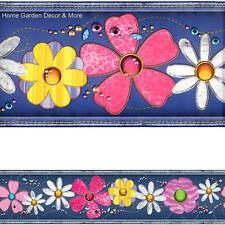 SUMMER LOVE Blue Jean Denim Flower Patches Peel Stick Wallpaper Border