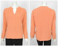 Womens Peter Hahn 100% Cashmere Sweater Jumper Peach Orange Cable Knit D42 UK16