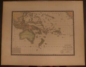 """1828 Oceania Full Color! - Brue Atlas 26.5"""" x 20.8"""" huge map - Antique Original"""