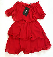 PrettyLittleThing Red Chiffon Bardot Ruffled Tiered Dress, US Size 2 MSRP $50.00