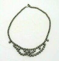 Vintage Clear Studded Rhinestone Necklace 16""
