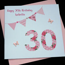 Handmade Birthday Card /16th 18th 21st 30th 40th 50th 60th/ personalised any age