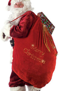 SANTA Claus Christmas TOY Bag SACK Red Plush Velvet Present Costume Accessory