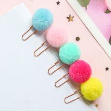 5pcs/lot Plush Ball Paper Clips Bookmark DIY Office School Clip Kid Xmas Gift