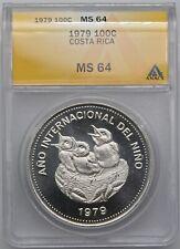 Costa Rica 1979 100 Colones Silver Coin MS 64 ANACS Year of the Child **RARE**