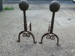 A Pair of Antique English Victorian Wrought Iron Fire Dogs with Film History
