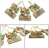 3Pcs Christmas Decorations Wooden Ornament Xmas Tree Hanging Pendants Ornament