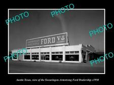 OLD LARGE HISTORIC PHOTO OF AUSTIN TEXAS THE FORD MOTORS CAR DEALERSHIP c1950