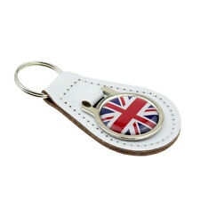 Union Jack Design White Bonded Leather Key Ring XKFR036