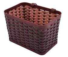Ammaco Kids Childs Plastic Front Woven Bike Basket Dark Brown Leather Straps