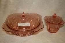 """Adam Pink 9"""" Bowl with Cover and Adam Pink Sugar Bowl with Lid"""