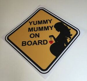 Yummy Mummy On Board Pregnant Mum Baby Child Removable Wall Car Stickers Decal