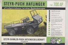 1961 Steyr Puch Haflinger 700AP Jeep Truck Brochure Poster German ww4441