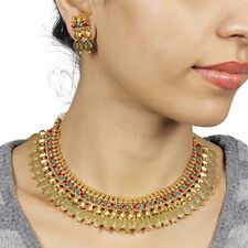 South Indian Bollywood Necklace Gold Plated Wedding Fashion Women Jewelry Set
