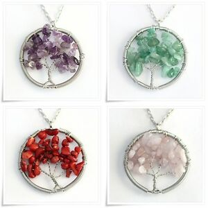 Natural Gemstone Chip Beads Tree Of Life Charms Pendant Necklace 26inch Chain