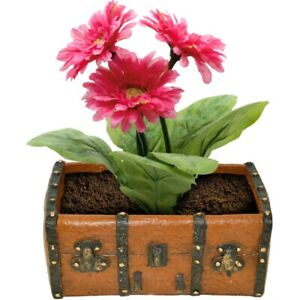 Red Chest Ceramic Home Decor Gifts Gardening Planting Flower Pot