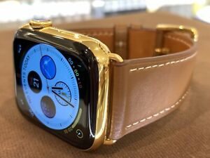 CUSTOM 24K Gold Plated 44mm Apple Watch Series 6 Stainless Steel Case Brown Band