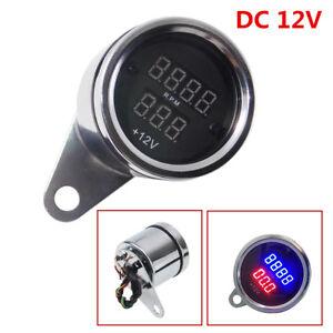 Waterproof Universal Motorcycle LED Digital PRM Tachometer Voltmeter Gauge Combo