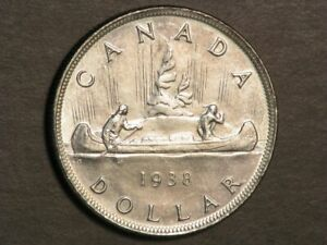 CANADA 1938 1 Dollar Silver Crown XF-AU