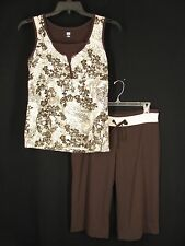 Sb Active L Top M Pants Ivory Brown Cotton Stretch Exercise Workout Yoga Casual