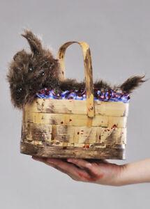 Halloween Zombie Dorothy Toto Fancy Dress Fairytale Basket Purse Prop