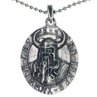 Odin Norse Viking Celtic Amulet Medallion Charm Silver Pewter pendant necklace