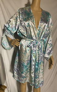 Secret Treasures Satin Kimono Style Robe Colorful Pastels Floral XL