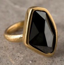 Designer Yellow Gold 24k Plated Set Amazing Black Swarovski Crystal Ring Sz 8