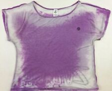 Zumba Wear Women's Sz L Purple and White Short Sleeve Athletic Exercise Top