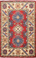 Vegetable Dye RED Super Kazak Geometric Oriental Area Rug Wool Hand-Knotted 2x3