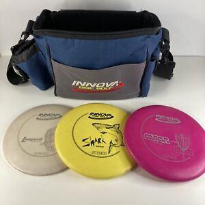 Disc Golf Starter Set Innova Shoulder Bag Blue Gray with 3 Discs Leopard Aviar
