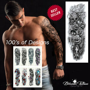 Temporary Tattoo Sleeve Full Arm Waterproof Tattoo Transfers Body Art Men Women