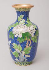Chinese Blue Cloud Ground Cloisonne Enamel Vase with Bold Floral Design