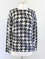 Equipment 100% Cashmere Houndstooth Print Sweater Size XS Black Gray Off White