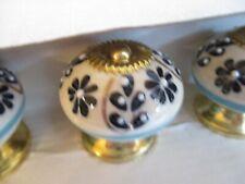 CASA DECOR CERAMIC Cabinet Knobs Drawer Pulls Set of 8  ~ Blue White Gold NEW
