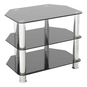 """AVF Group Classic Corner Glass TV Stand Up to 32"""" Screen Size, Black"""