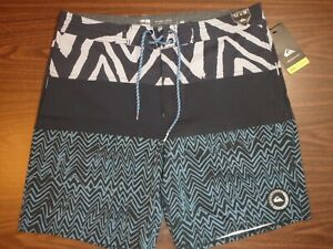 "Quiksilver Men's Board Shorts - 18"" length -Blue/Black Pattern -00178"