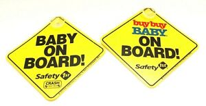 """(2 Pcs) 5""""x5"""" Baby on Board Yellow Safety Sign with Suction Cup NEW"""