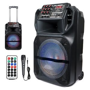 "Portable 15"" Bluetooth Speaker Subwoofer Heavy Bass Party DJ System Mic AUX FM"