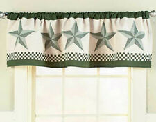 Country Barn Star Window Valance Primtive Rustic Curtain Green
