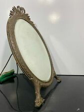 Vintage Brass Claw Lion Footed Oval Frame Vanity Dressing Mirror
